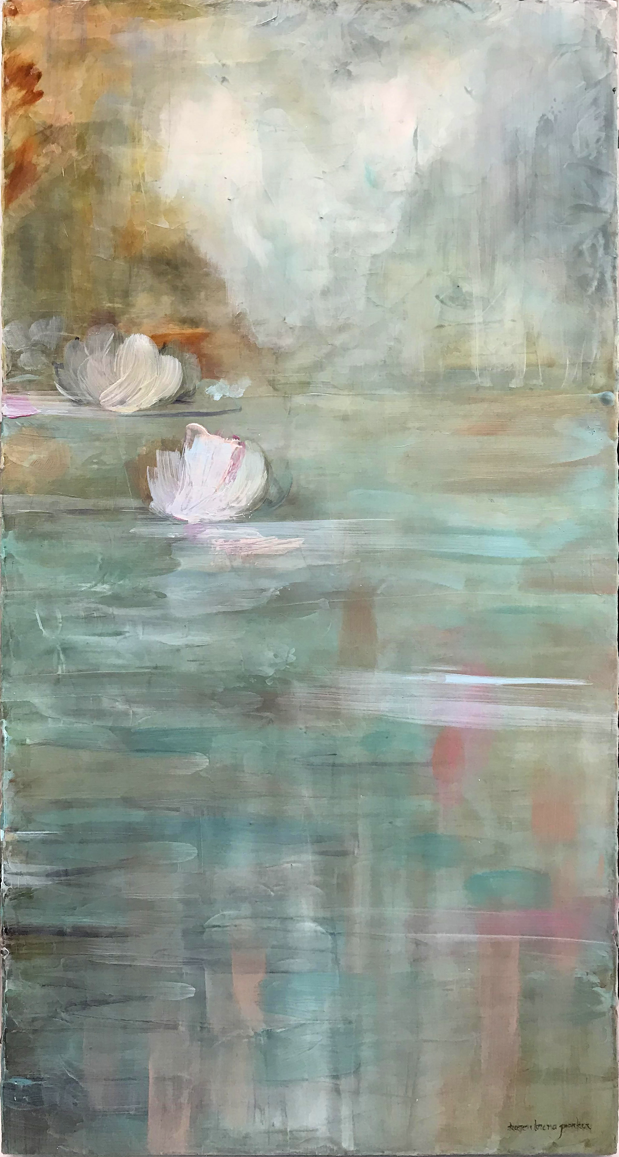 White lotus 18x40 acrylic on canvas