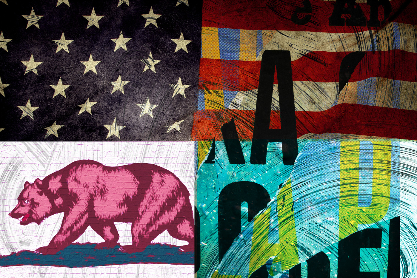 CALI-CATION,  PATTERN  The CALI-CATION design started when I was inspired to combine the California beach scene of textures and combine them with our nations flag. I pulled these textures from underwater images my friends and I shot as well as huge brush strokes I created in photoshop. The pop of color combinations work very well on apparel as they give the feeling of being in California on a summer day.