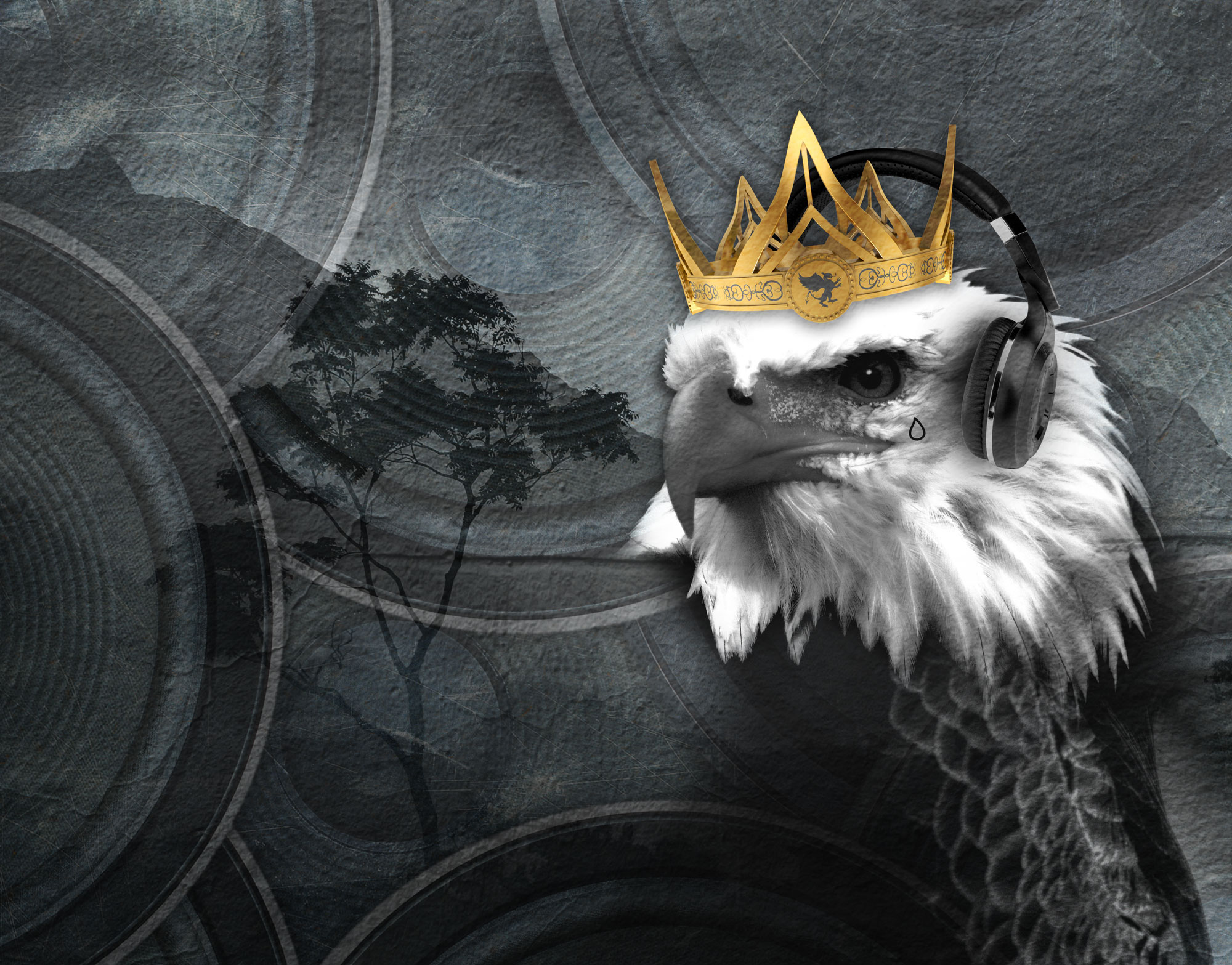 ANIMAL SOUND,  INSPIRATION  A passionate everyday listener and aspiring musician this design was a fun piece to put together. The enlarged eagle that is one of the most powerful birds alive is listening to music through headphones while stalking its prey in the distant tree. The crown on his head shows he's been victorious and the tear drop tattoo shows he has lost as well.