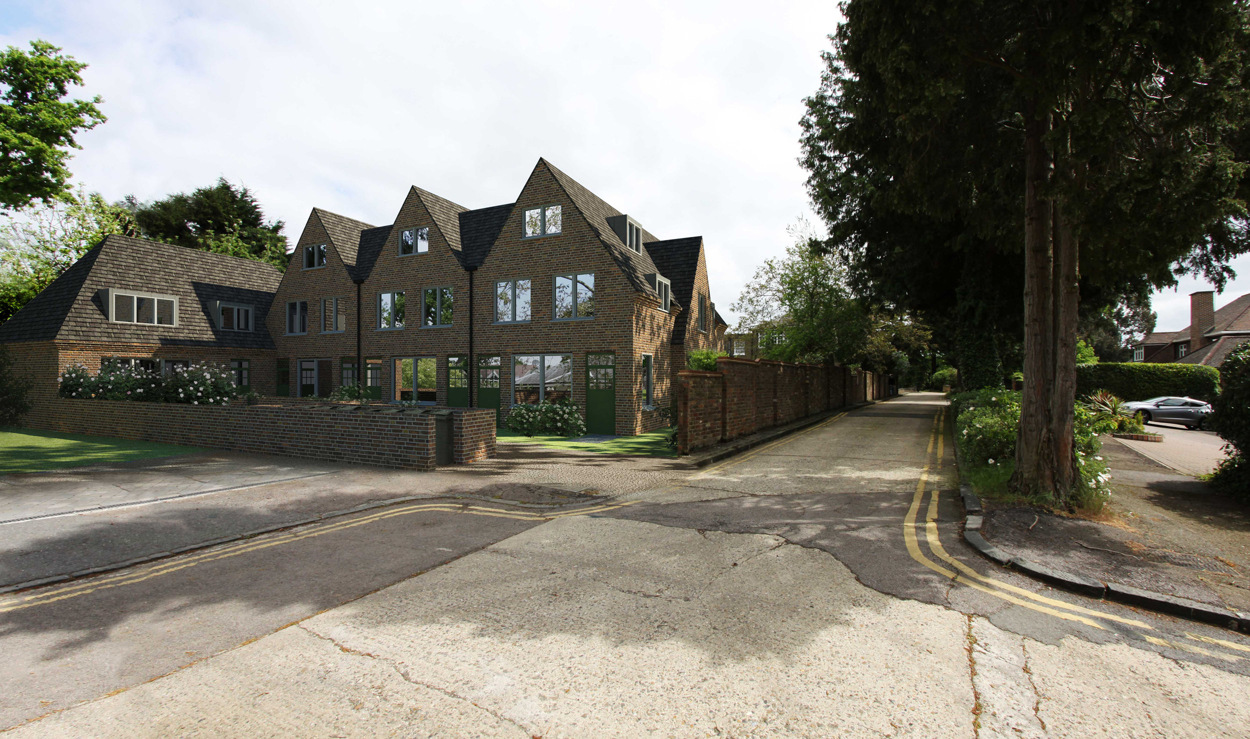 New build 2300sqm residential development, fourteen flats and two house on Farorna Walk in Enfield.