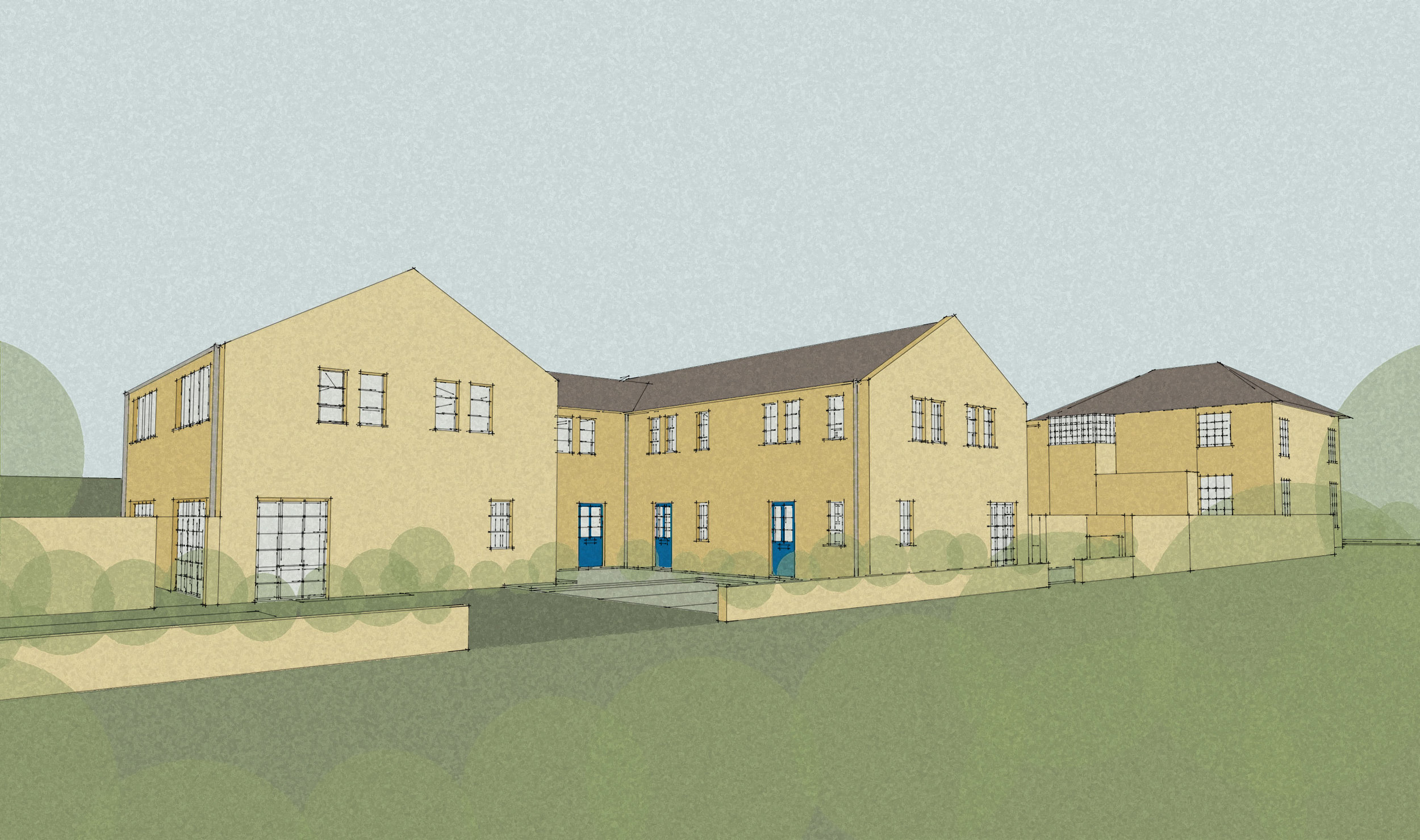 New build 440sqm residential developement, five houses on Farorna Walk in Enfield.