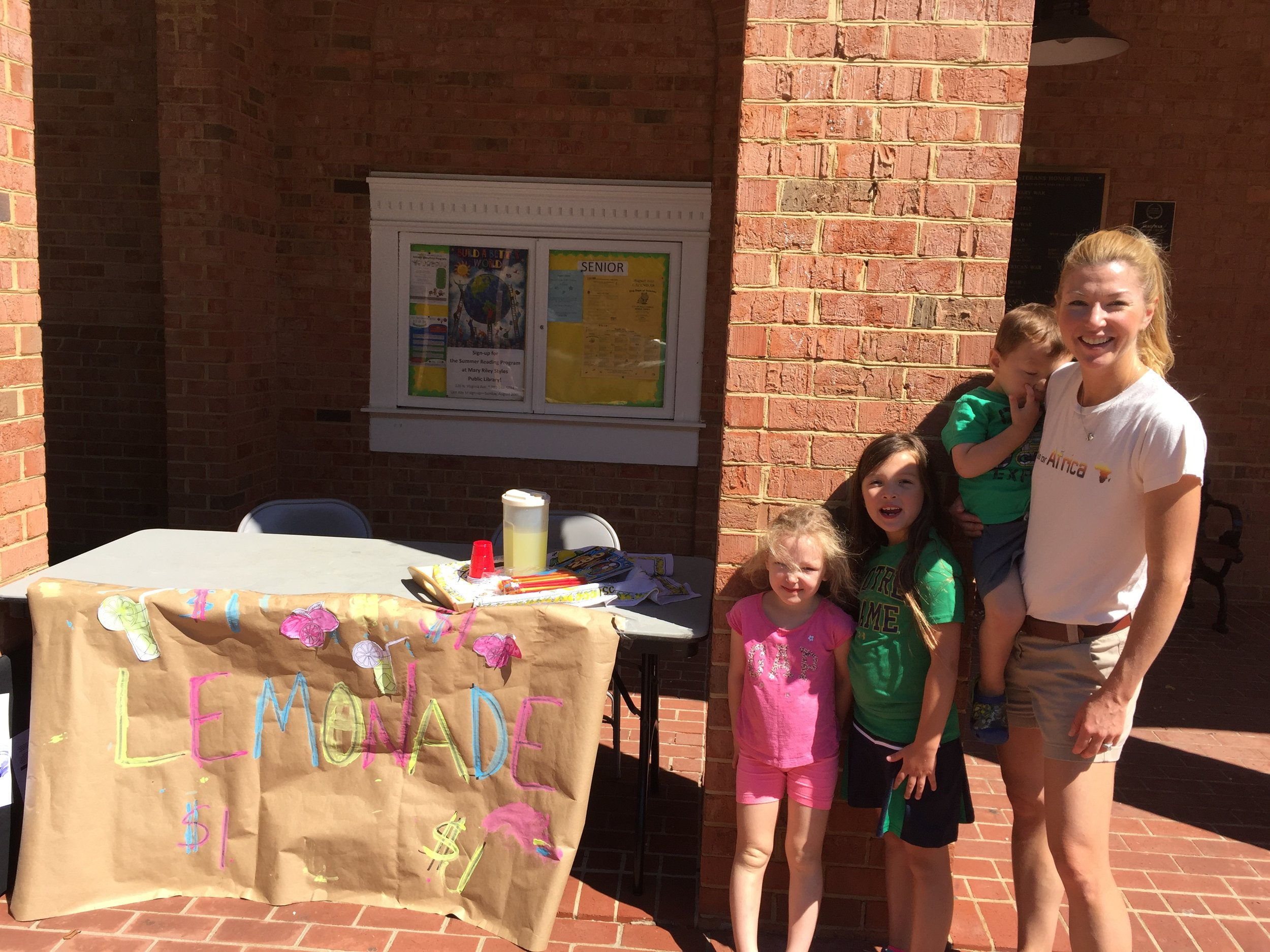 The kids and I closing up our lemonade stand. Success!