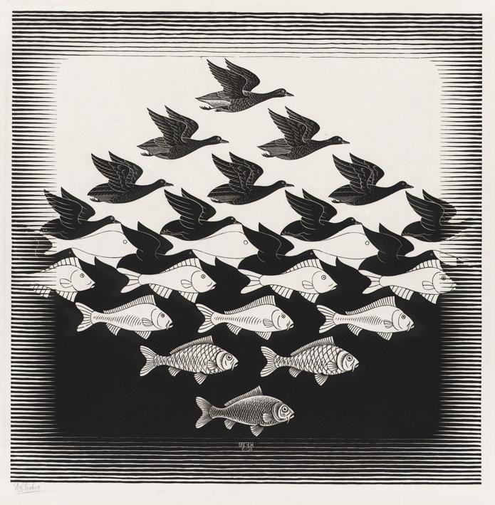 Artwork by Escher retrieved from http://www.escherinhetpaleis.nl/wp-content/uploads/2015/03/LuchtEnWaterI.jpg