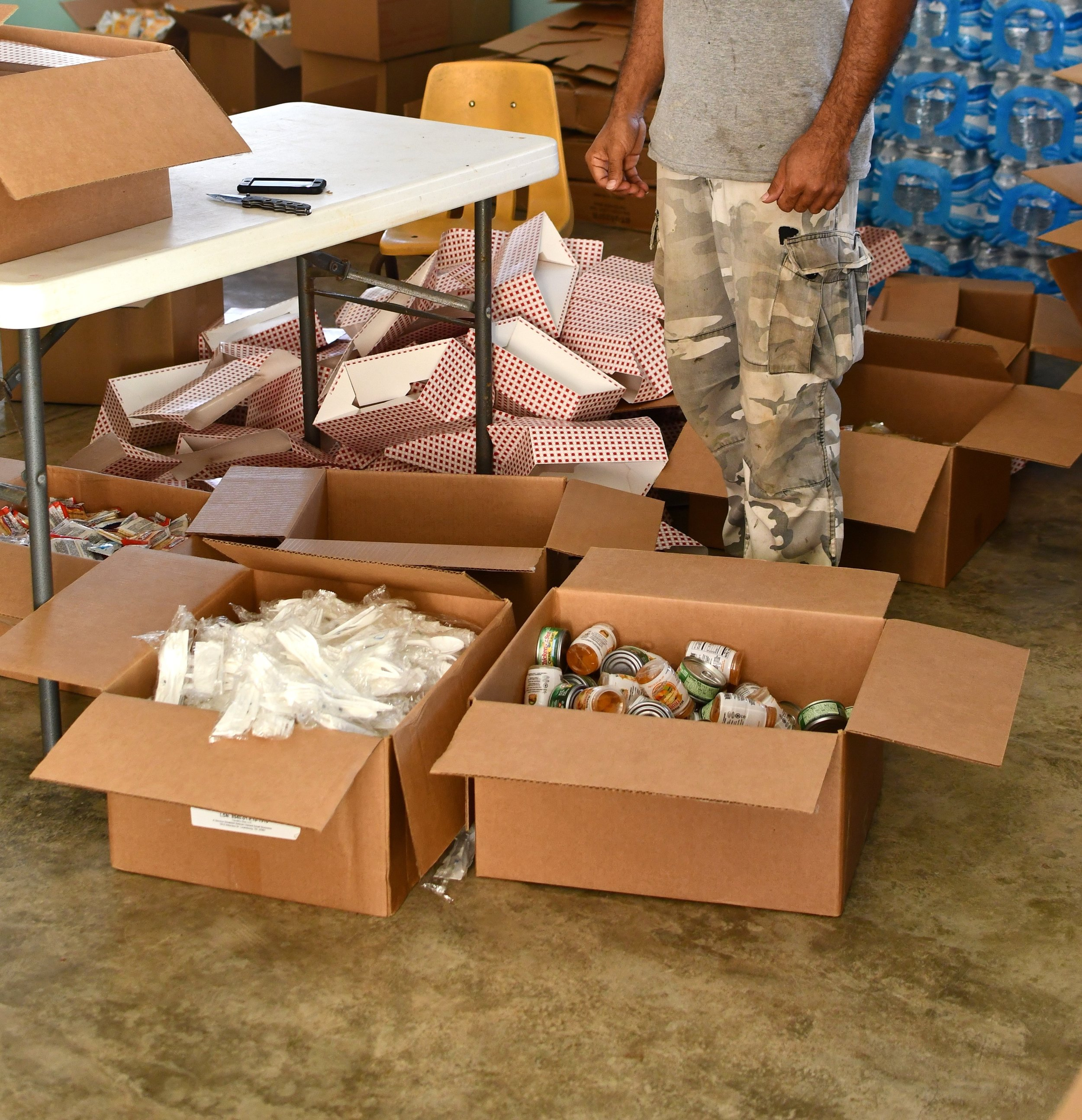 Emergency relief supplies being organized by a non-PRASA system operator.