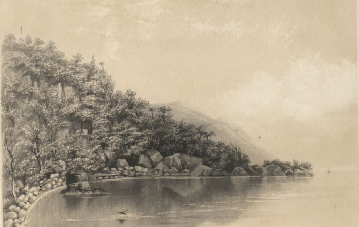PHOTO CREDIT: Rodney's Rock on Dominica. Illustration drawn from nineteenth century travel books