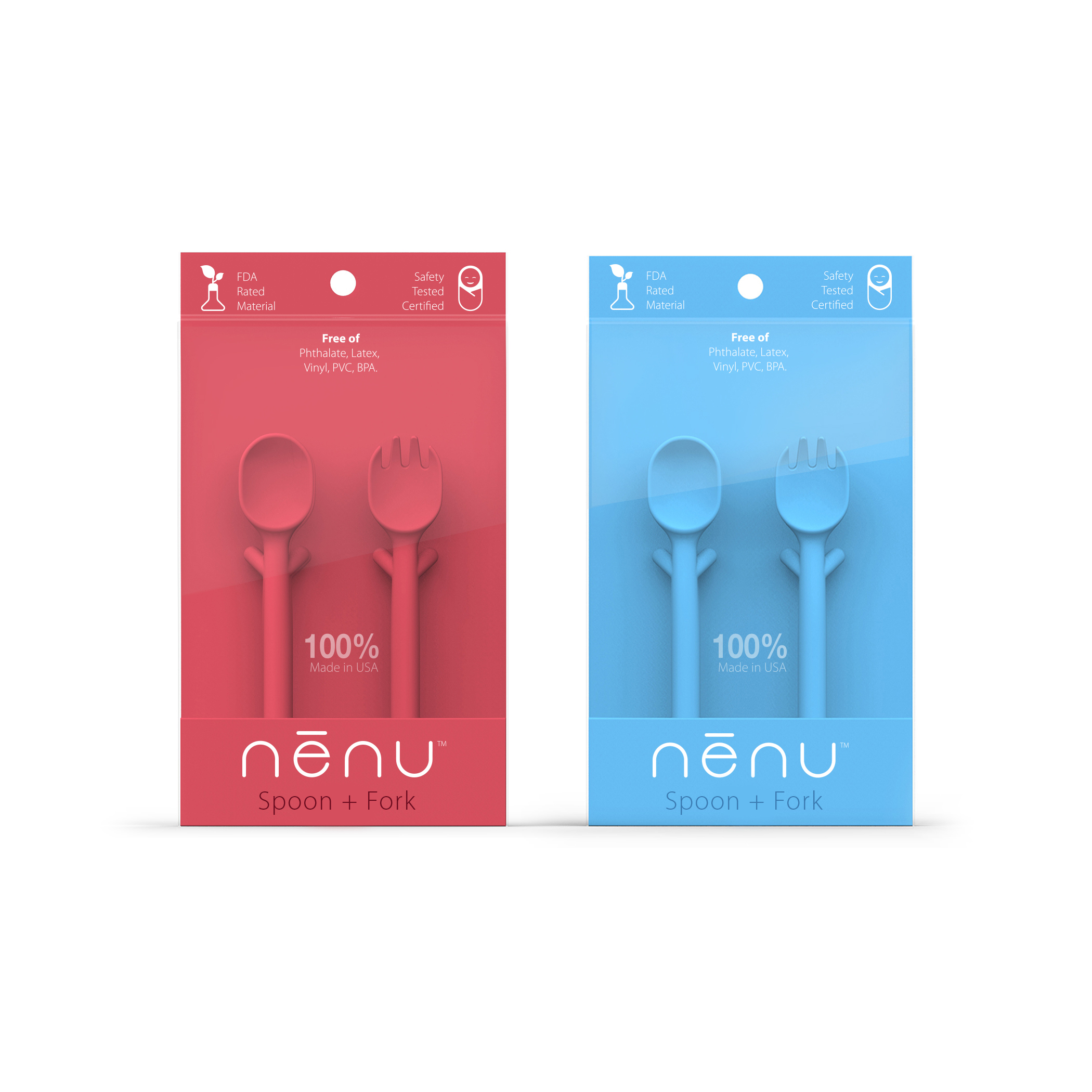 Nenu baby spoon and fork, made in the USA, safety tested