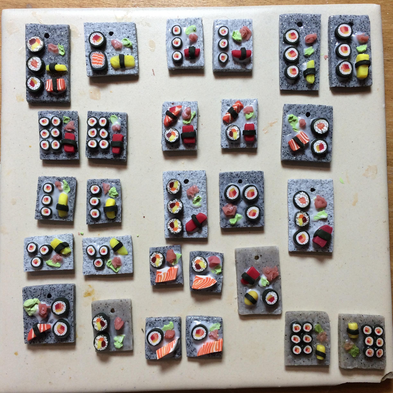 sushi platter pendants in progress