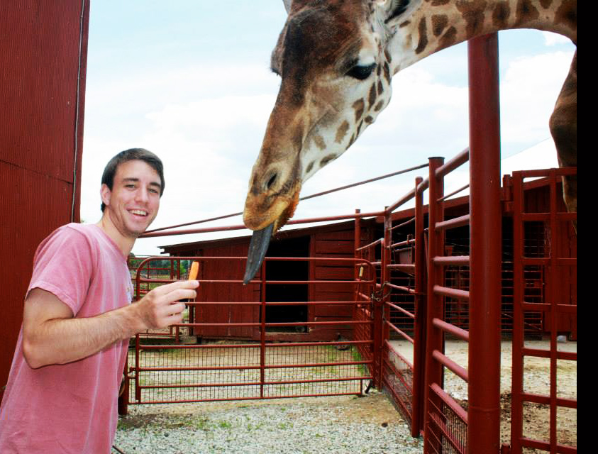 Jared is such an animal lover, he's even trying to get this giraffe to eat his veggies