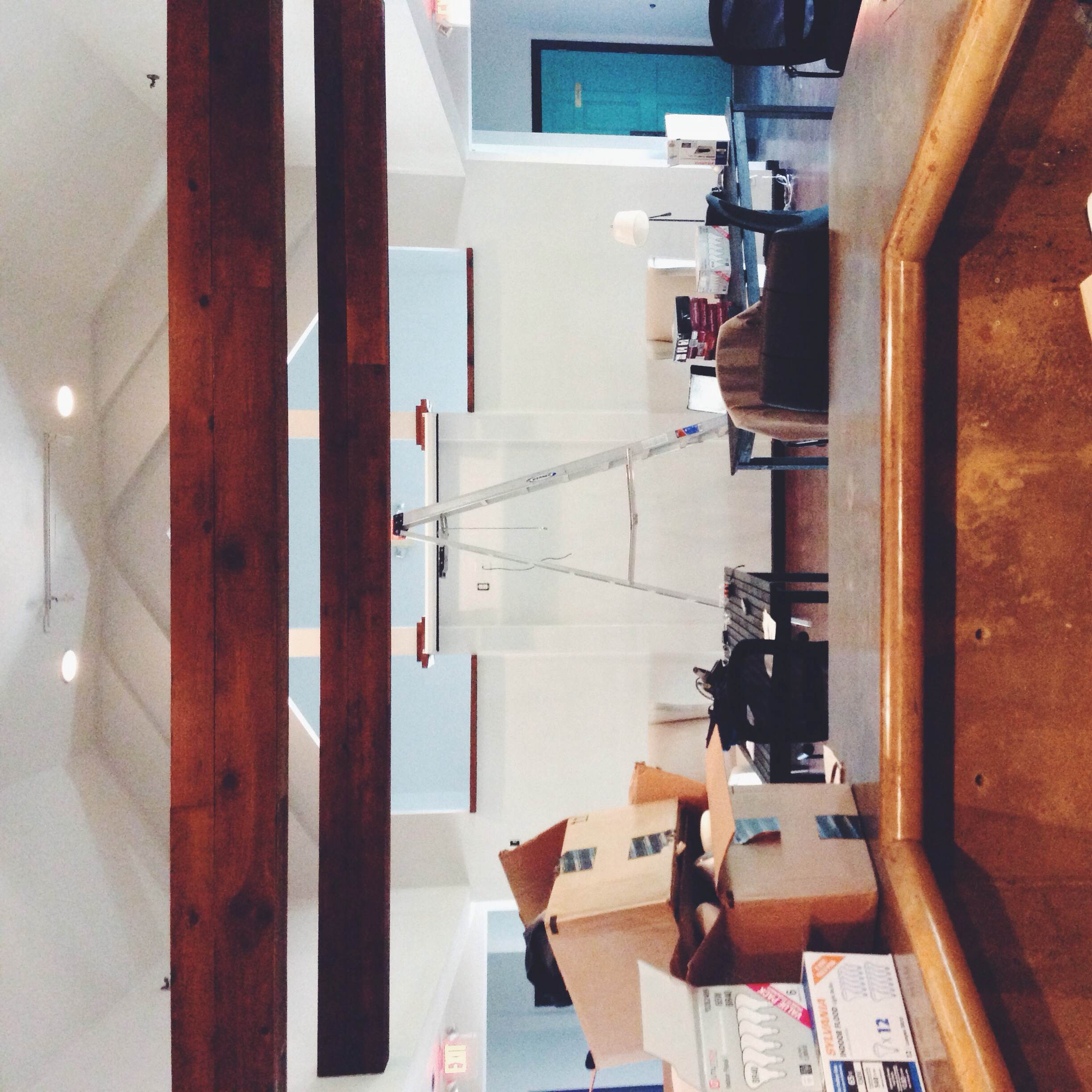 view from the coffee & more bar -- we're excited to see our custom tables for this space soon