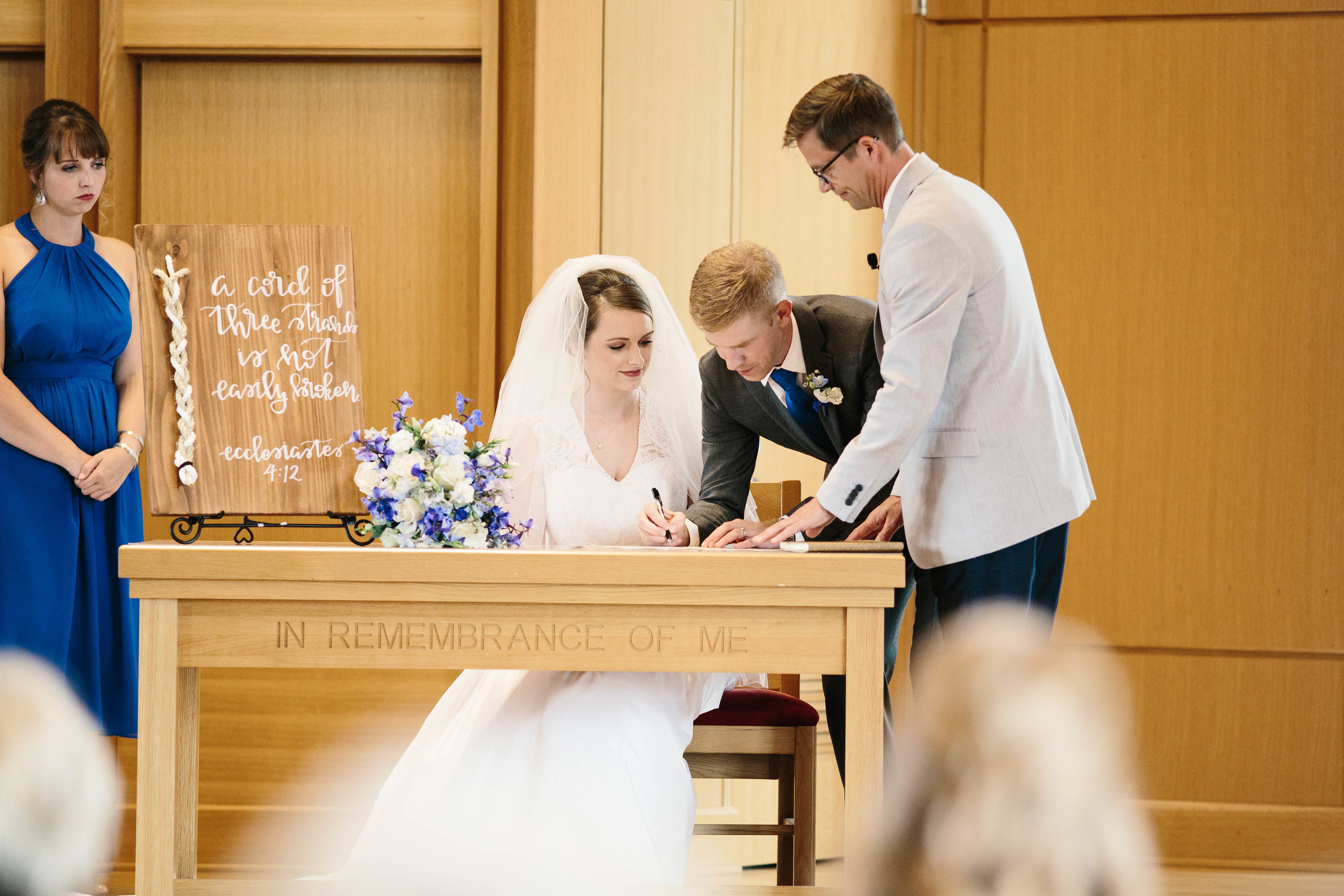 It's a Canadian tradition to sign the marriage license during the ceremony!