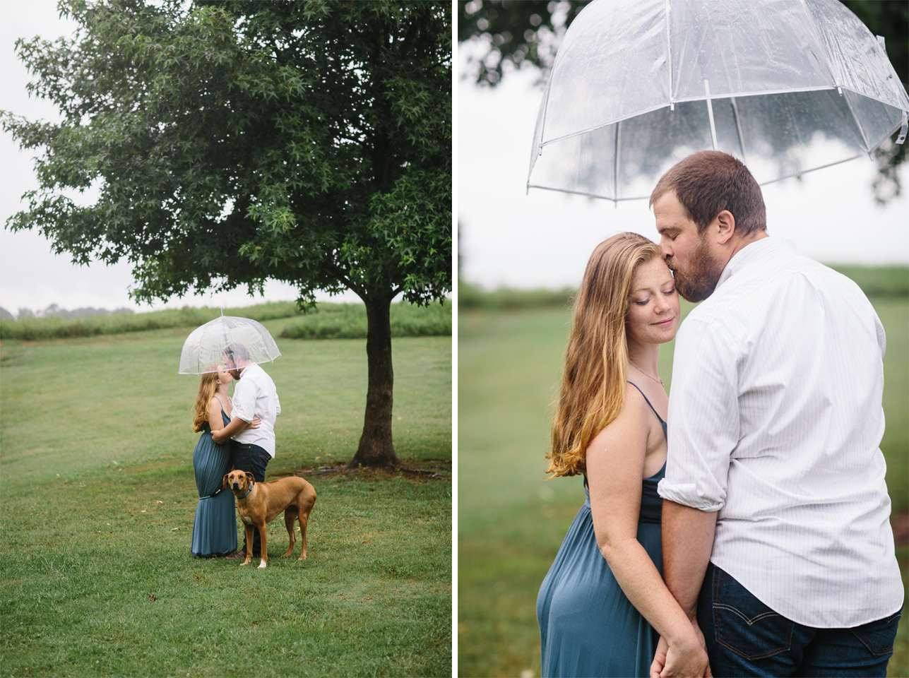 engagement photos with a dog.rainy engagement photos.rainy engagement inspiration.rainy day.e carroll joyner park.jpg