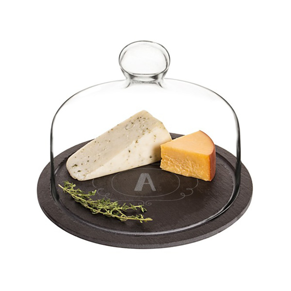 Personalized Slate Tray with Glass Dome