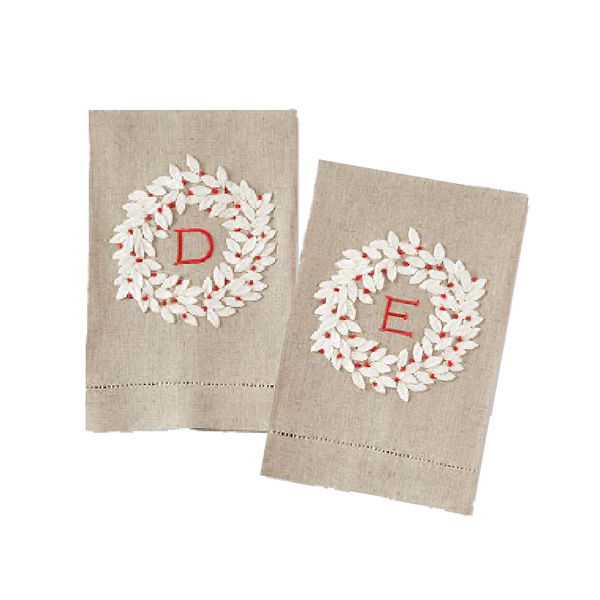 Initial Wreath Tea Towel