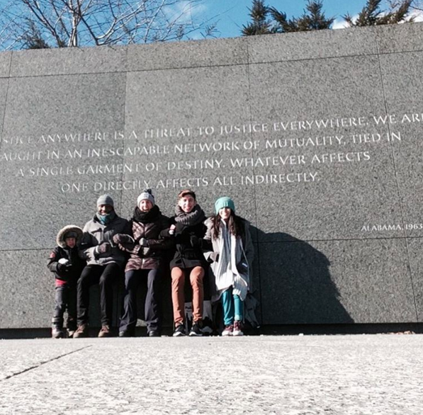 Some of the company (and Ana Maria's son) at the Memorial for Martin Luther King, Jr. in Washington, DC