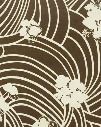 CHLOE I COLOR # 18  California bungalow goes mid-century brown. Printed on 100% linen, Oyster.