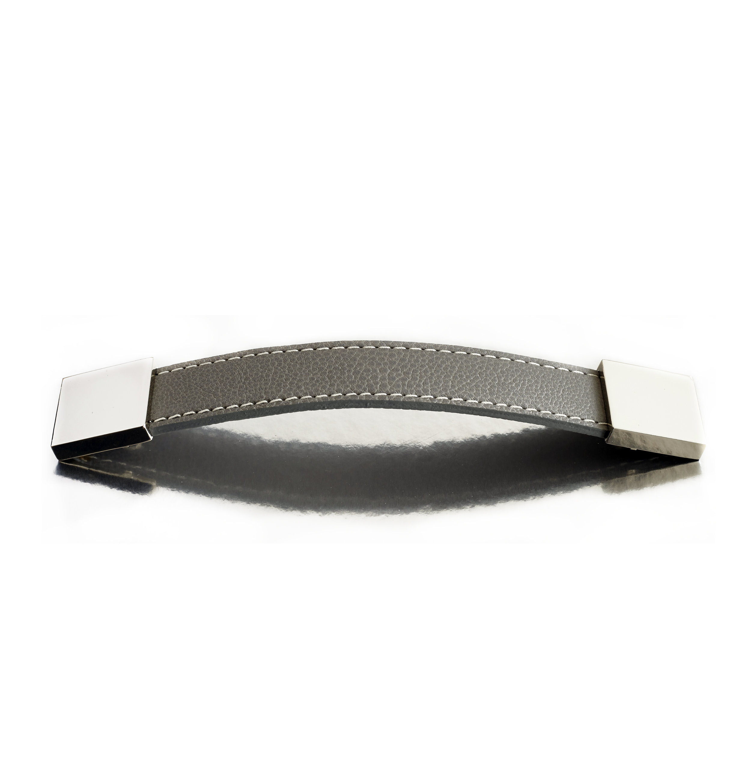 WATCH STRAP I GREY I EQUESTRIAN  Polished Nickel & Stitched Leather