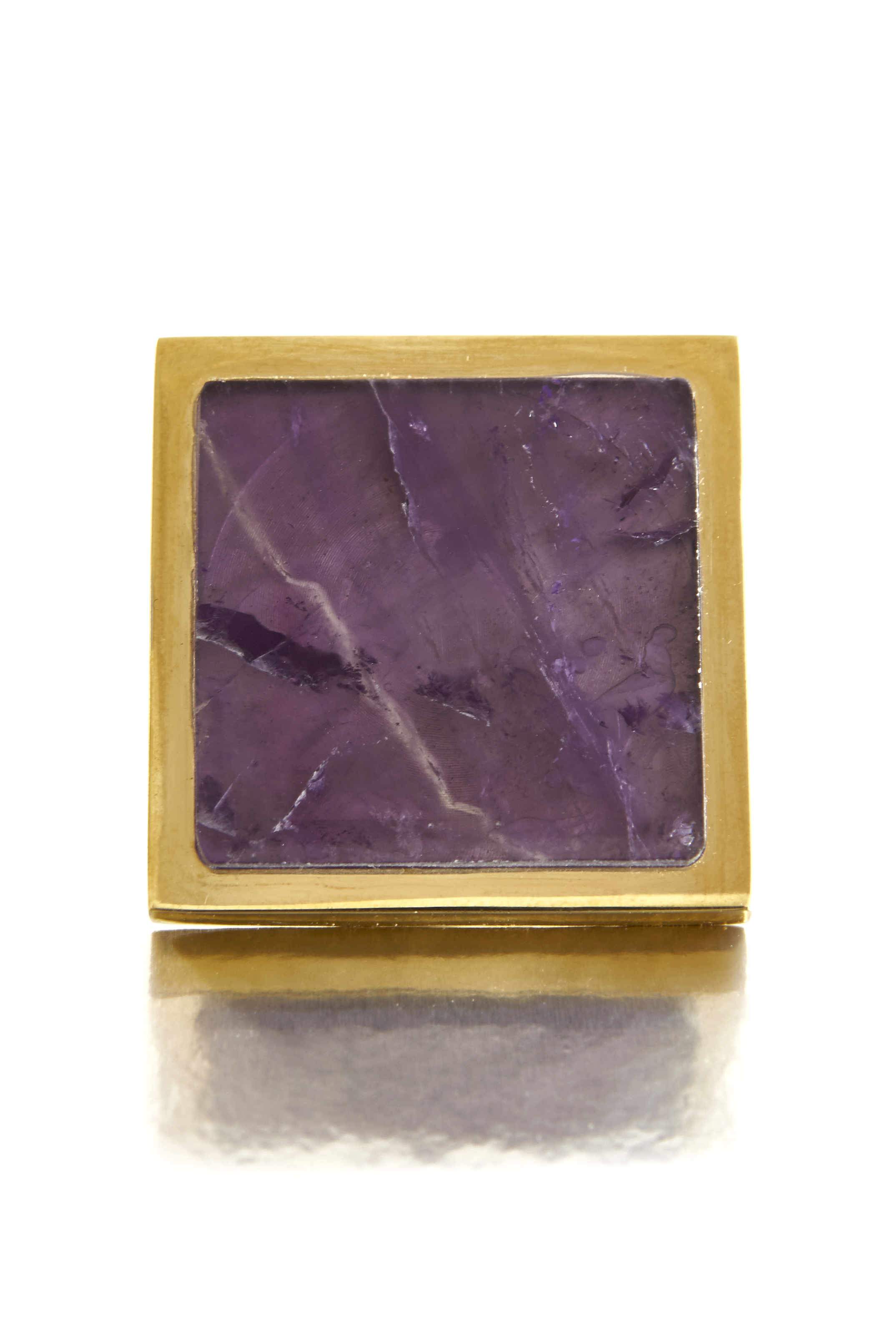 AMETHYST SQUARE KNOB I RARE EARTH  Solid Brass