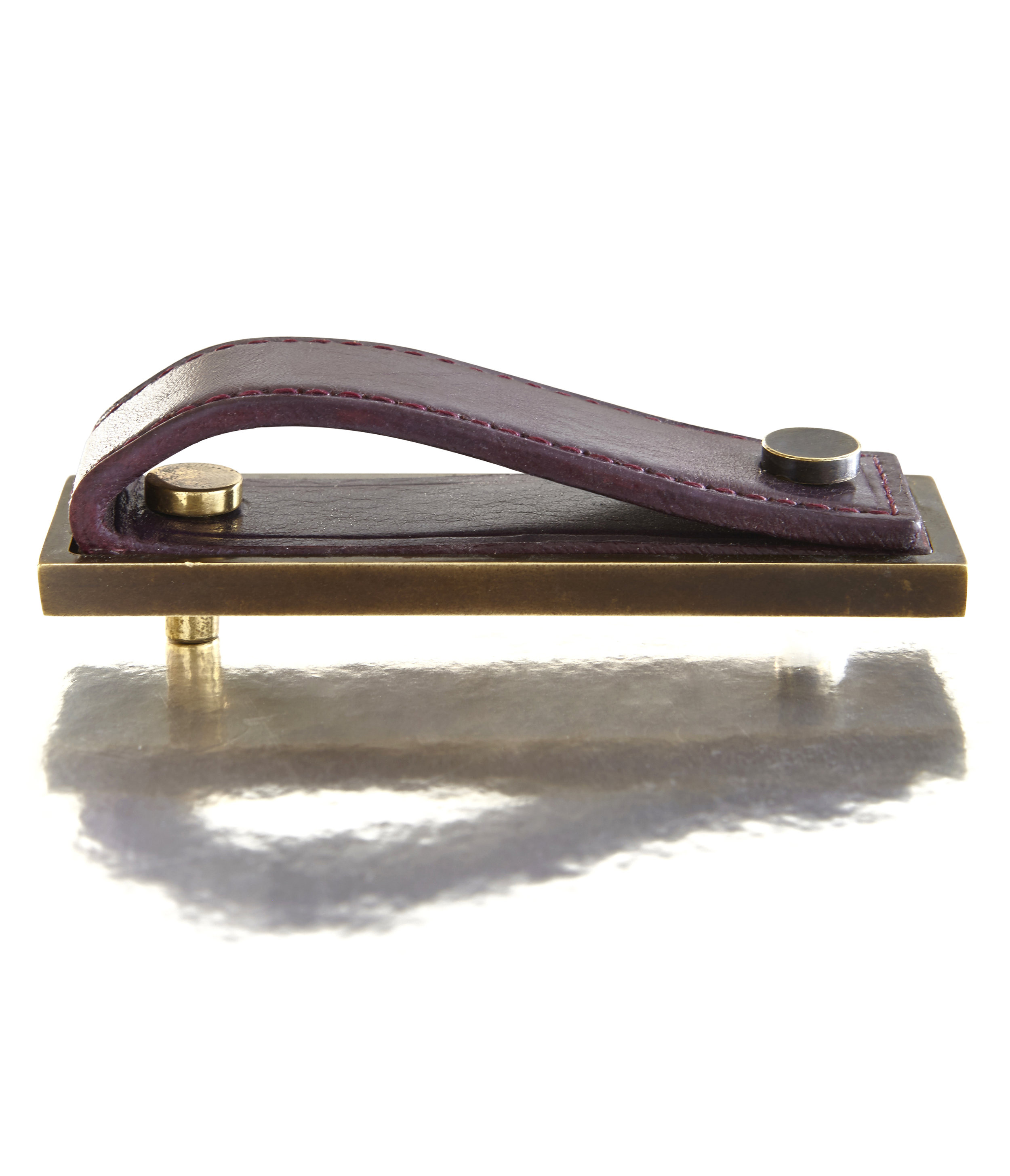 CORDED PULL I PURPLE I EQUESTRIAN  Solid Bronze & Stitched Leather