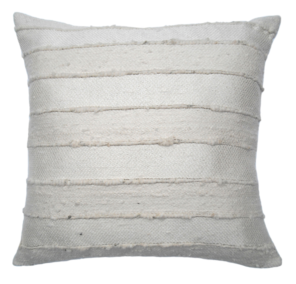RAW SILK PILLOW I IVORY WITH NATURAL STRIPE