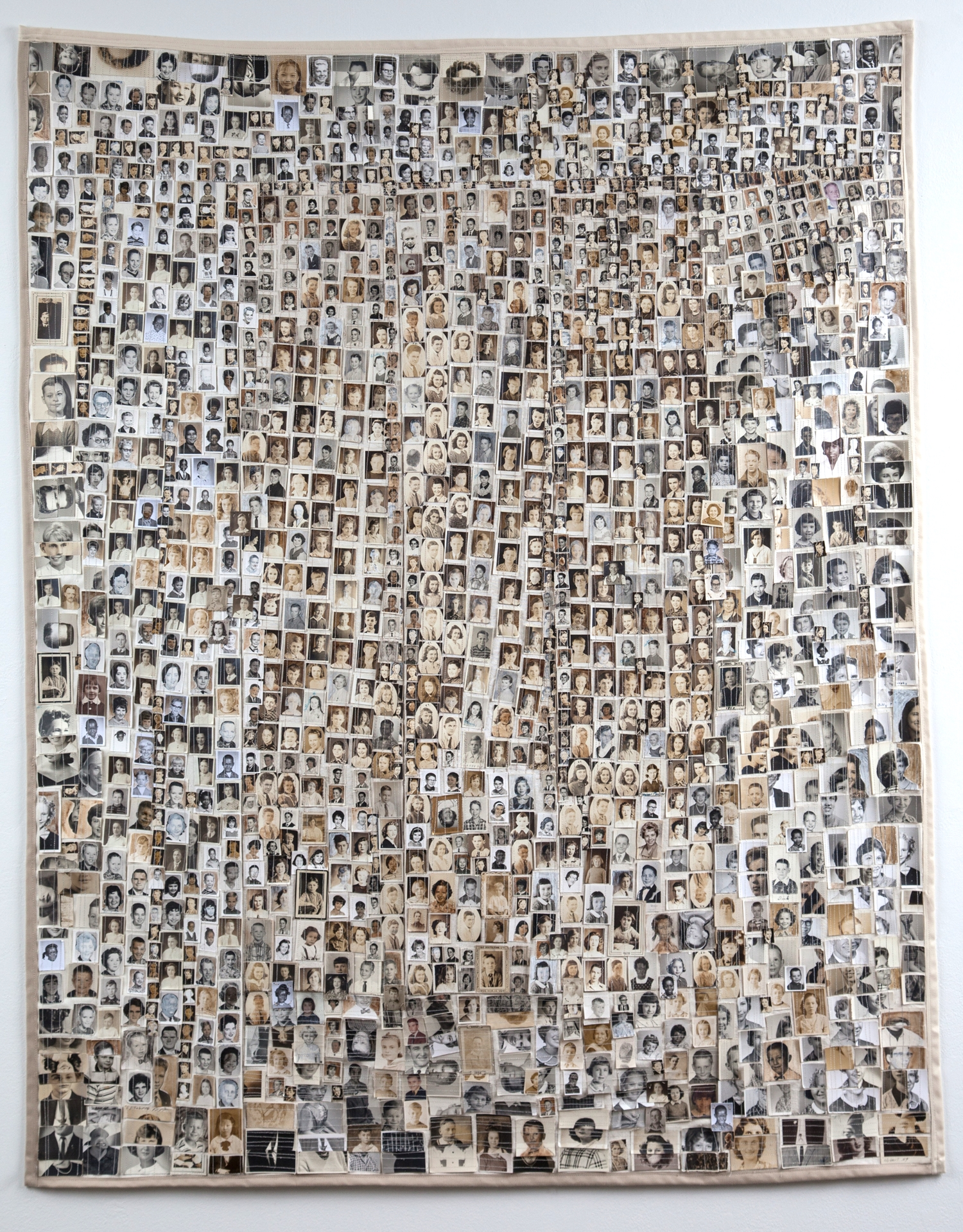 """SCHOOL DAYS    MEDIUM :  Approximately 1,000 Found Photographs, canvas, thread, pencil, watercolor & ink.           SIZE:       54 """" (h) x 43"""" (w)     DATE:   2014"""