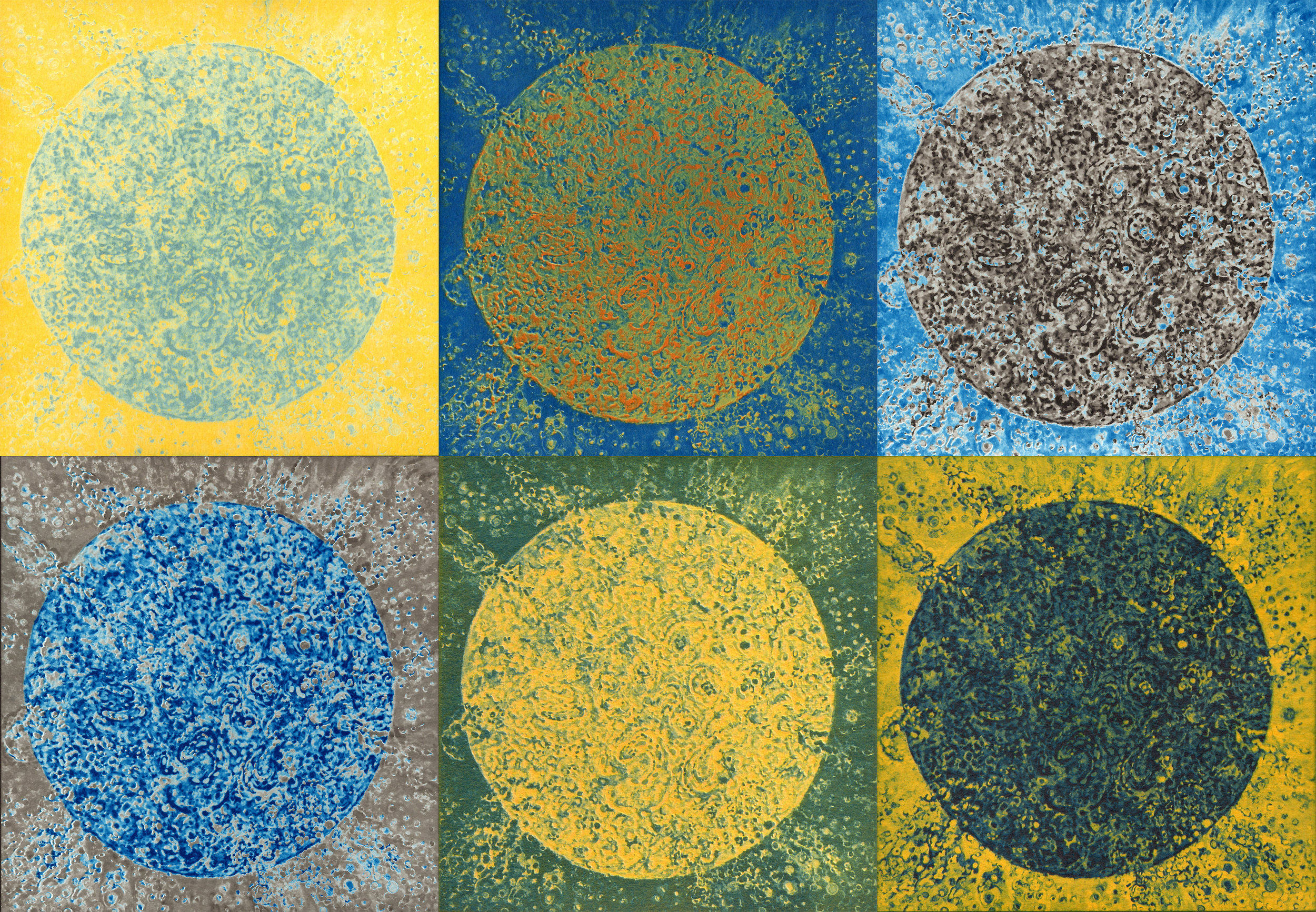 "Title: Sun Series:  Collection of six unique photographic prints.    Medium: Platinum Palladium overprinted with Cyan and Cyanotypes overprinted with Gum Bichromate. Overall Size: 13"" H x 19.5"" W Date: 2019"