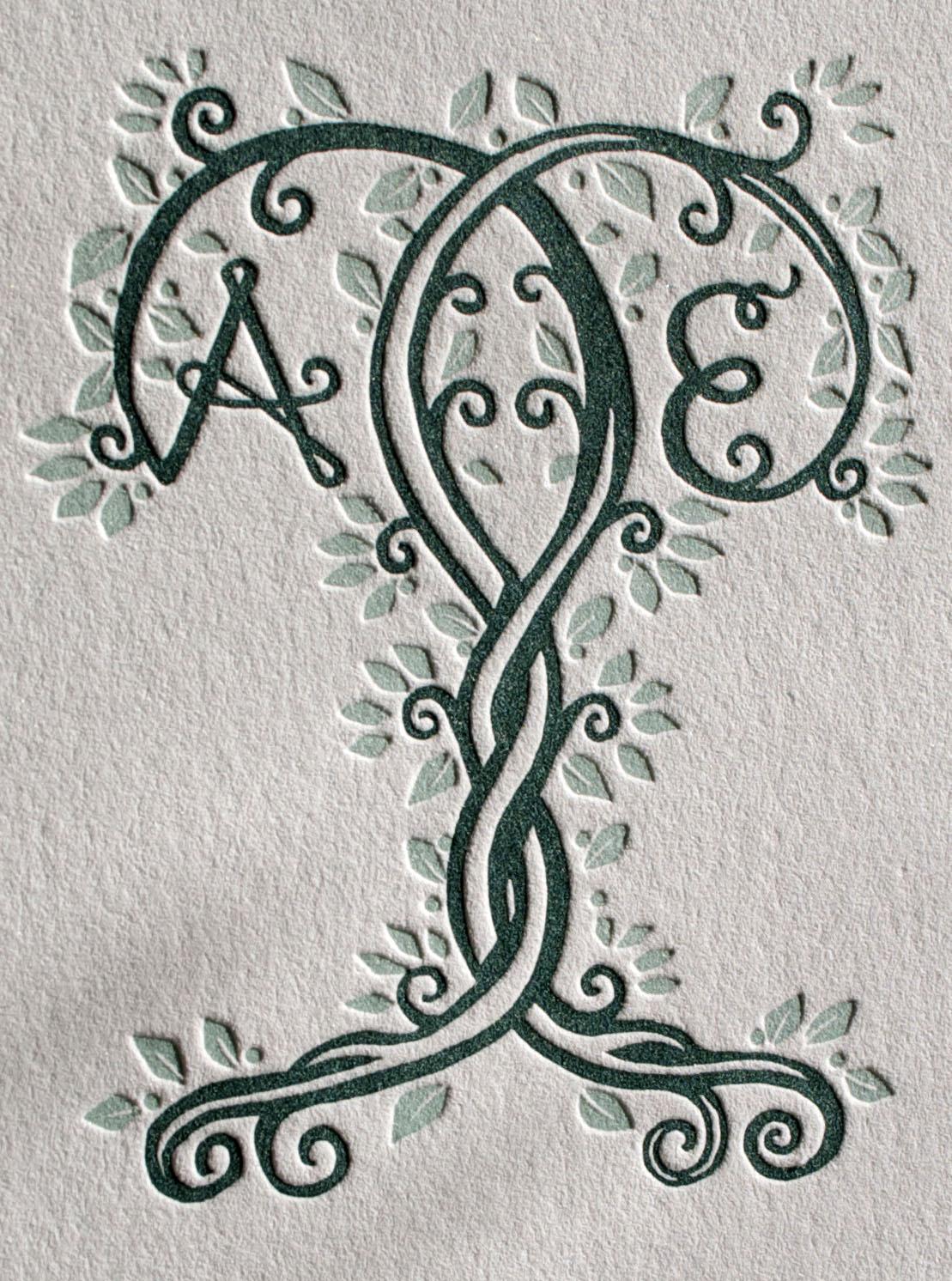 Custom bride and groom monogram design in 2 colors