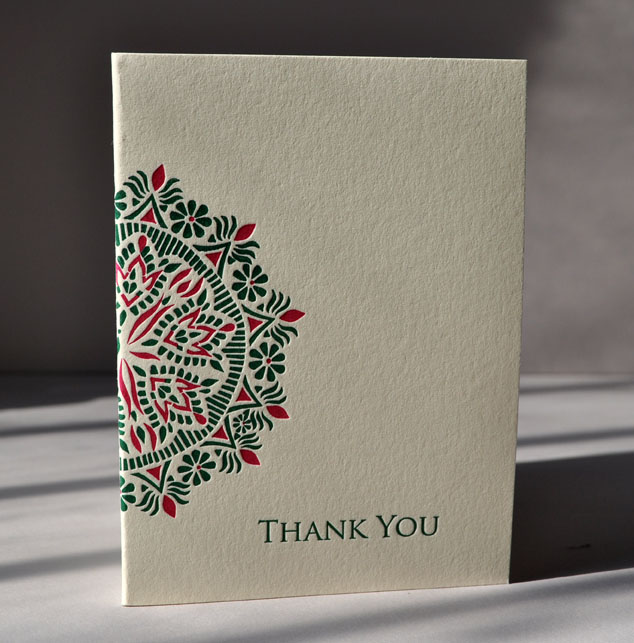 Rangoli 4-bar thank you, 2 colors, rangoli design that continues on the back of the card.