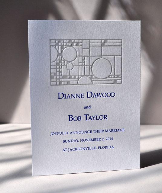 Architectural letterpress wedding designprinted on fluorescent white Lettra in 2 colors