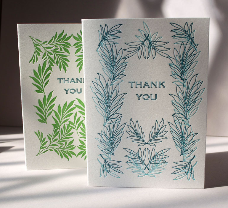 Letterpress thank you botanical cards