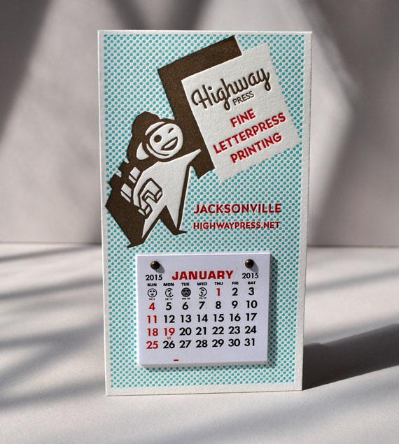 tiny letterpress refrigerator calendar