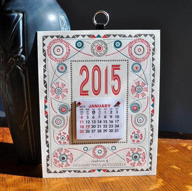 2015 letterpress calendar