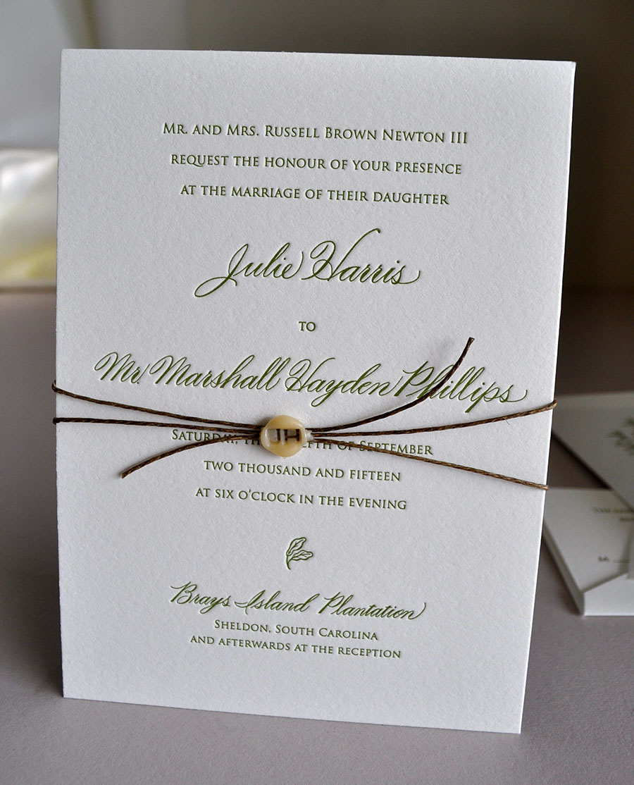Letterpress Low Country Wedding, Double thick lettra in 1 color, wax monogram seal with wrapped twine
