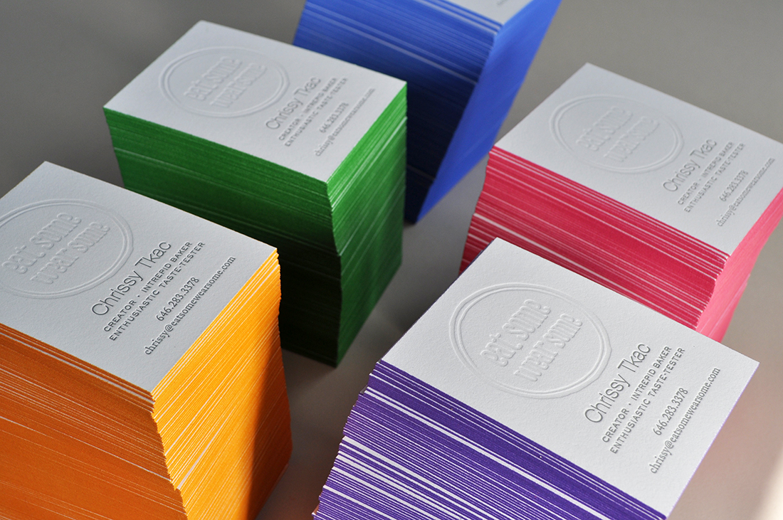 Oversized business cards for a chef, designed by Laura Herzberg. Edge painted in 5 different colors, printed on Savoy Bright White 226#
