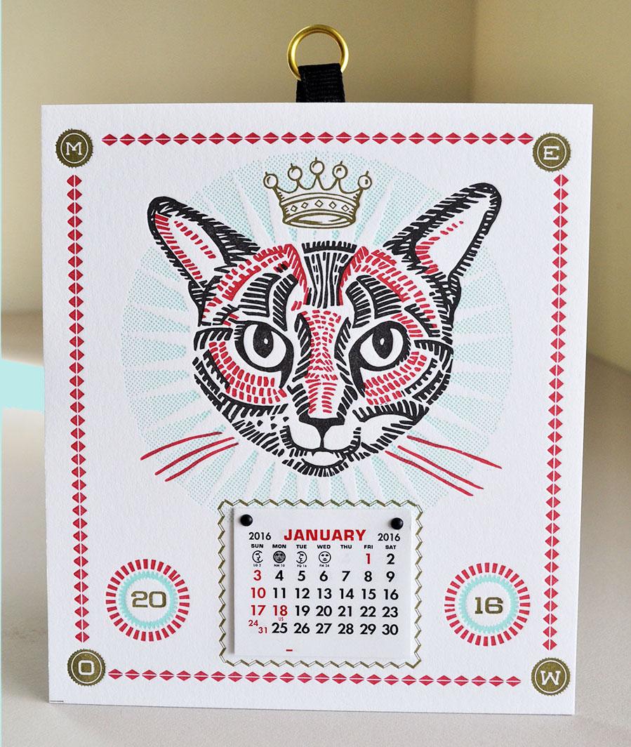 King Kat letterpress calendar
