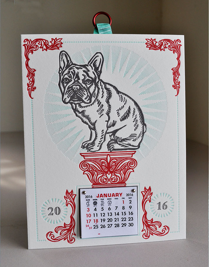 French Bulldog letterpress calendar 2016