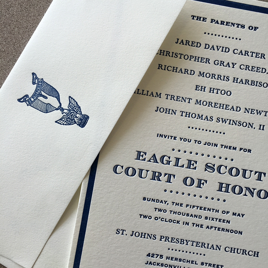 Eagle Scout letterpress invitation