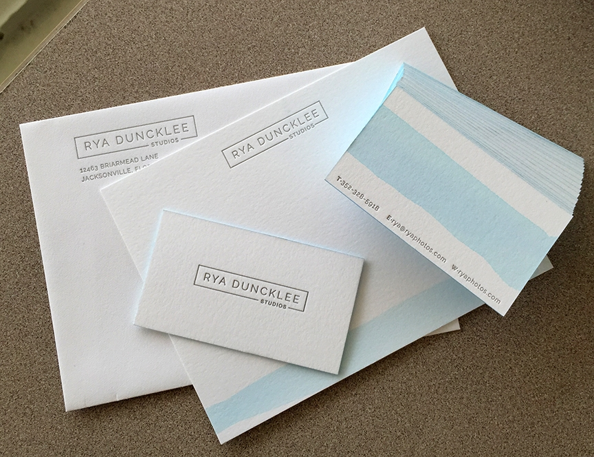blue wash letterpress business cards