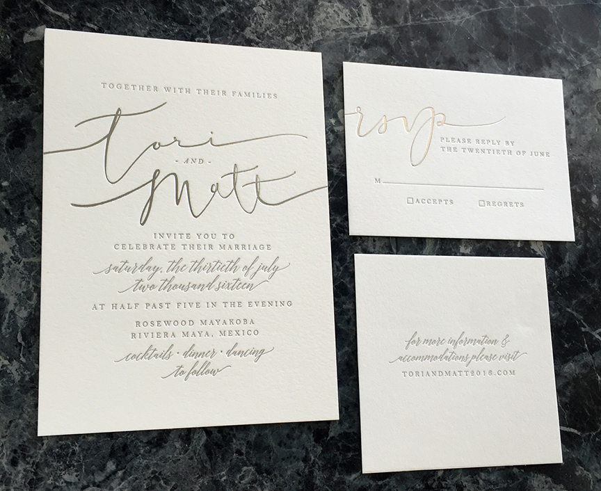 Modern calligraphy foil stamped in silver for letterpress wedding invitation suite with edge painting