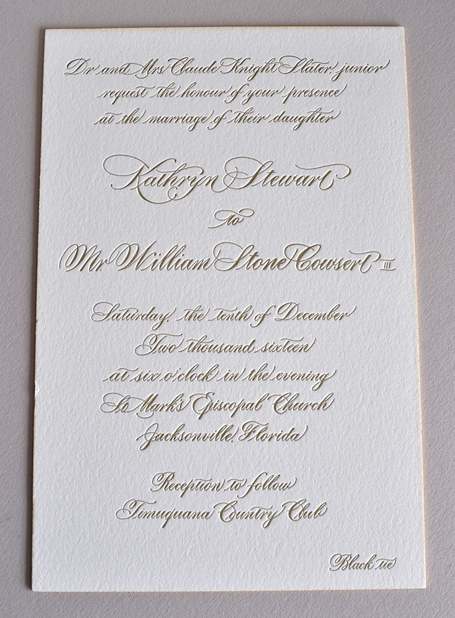 Formal and elegant hand calligraphy letterpress wedding invitation