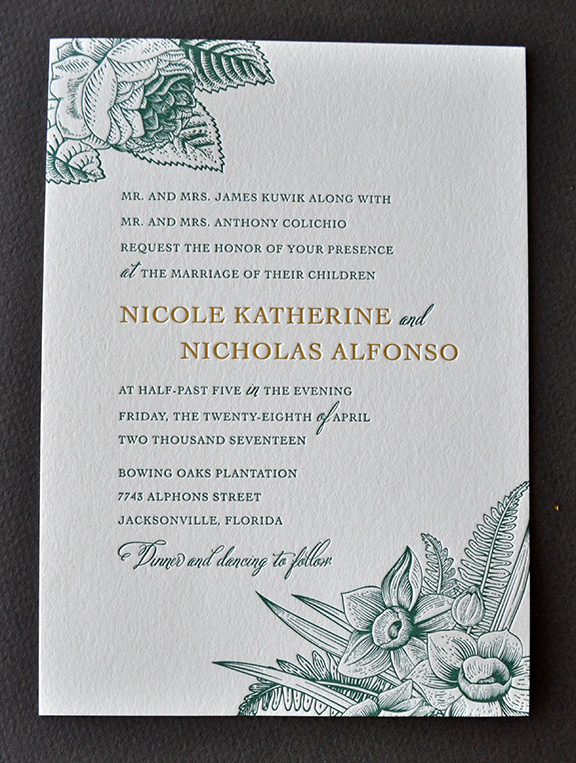 Elegant botanical theme for letterpress wedding invitation suite with band and monogram medallion