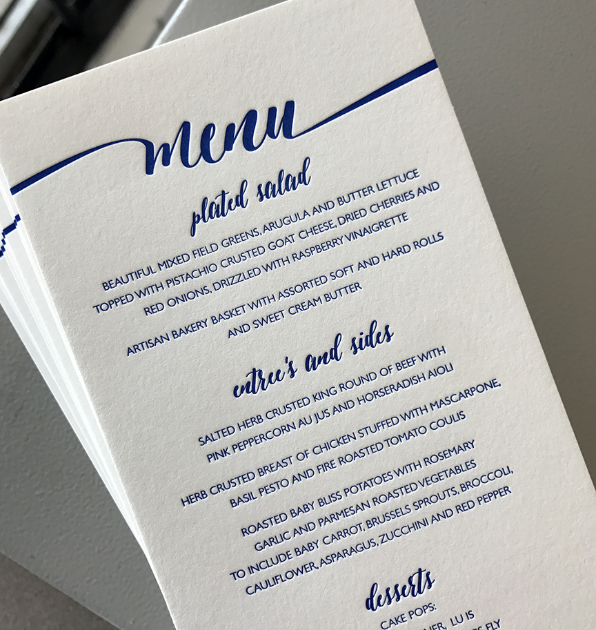 Letterpress navy wedding menu card