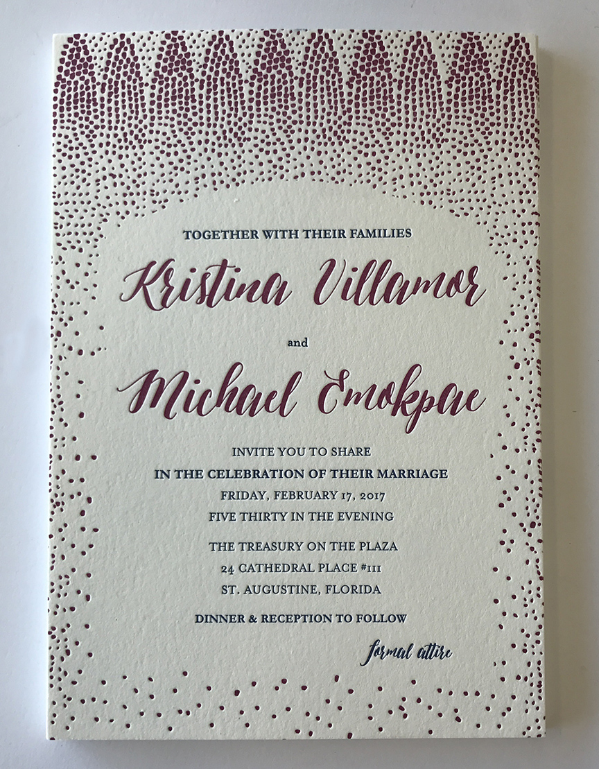 Fuchsia confetti letterpress wedding invitation