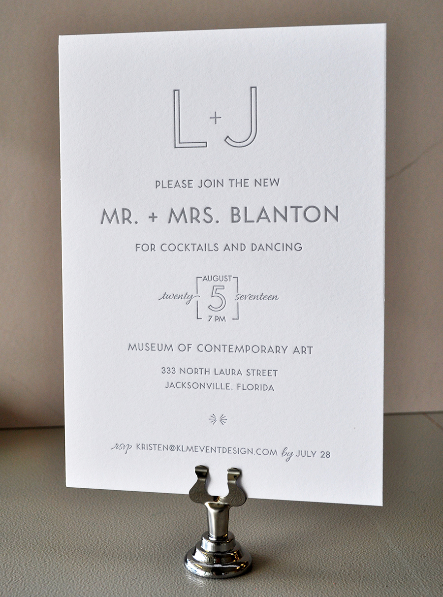 Clean, modern monotone gray letterpress wedding invitation
