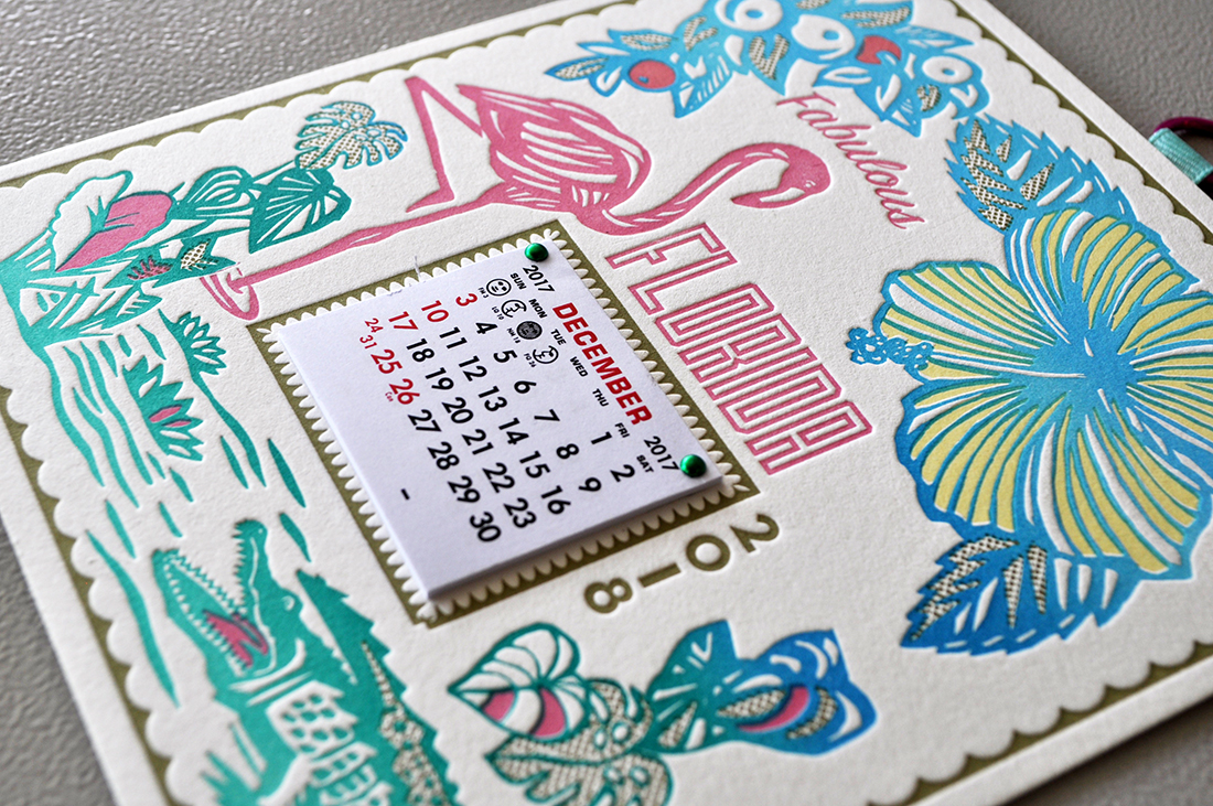 Greeting card calendars printed in multiple colors on double thick Lettra. Available in our Highway Press Etsy site.