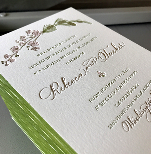 Cherry blossoms and pine boughs illustrated letterpress wedding invitation