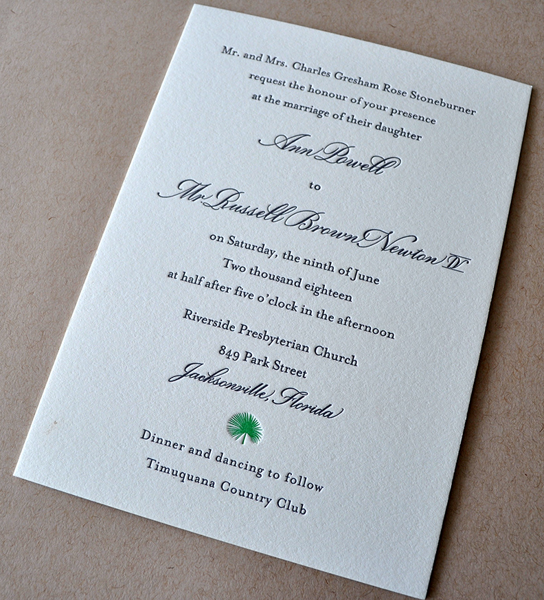 tropical florida elegant letterpress wedding invitation
