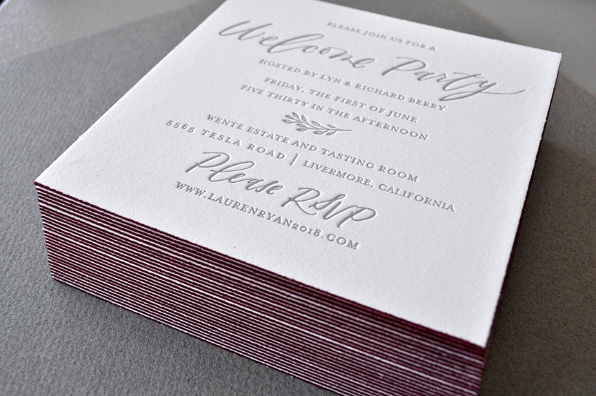 Wedding welcome party invitation gray and wine with edge painting