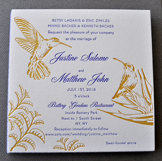 letterpress illustrated birds wedding invitation in yellow and purple
