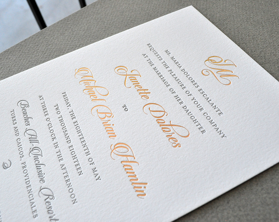 rose gold foil letterpress wedding invitation