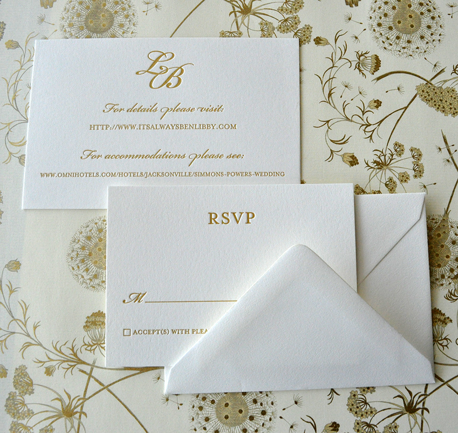 gold Italian paper envelope lining letterpress wedding invitation